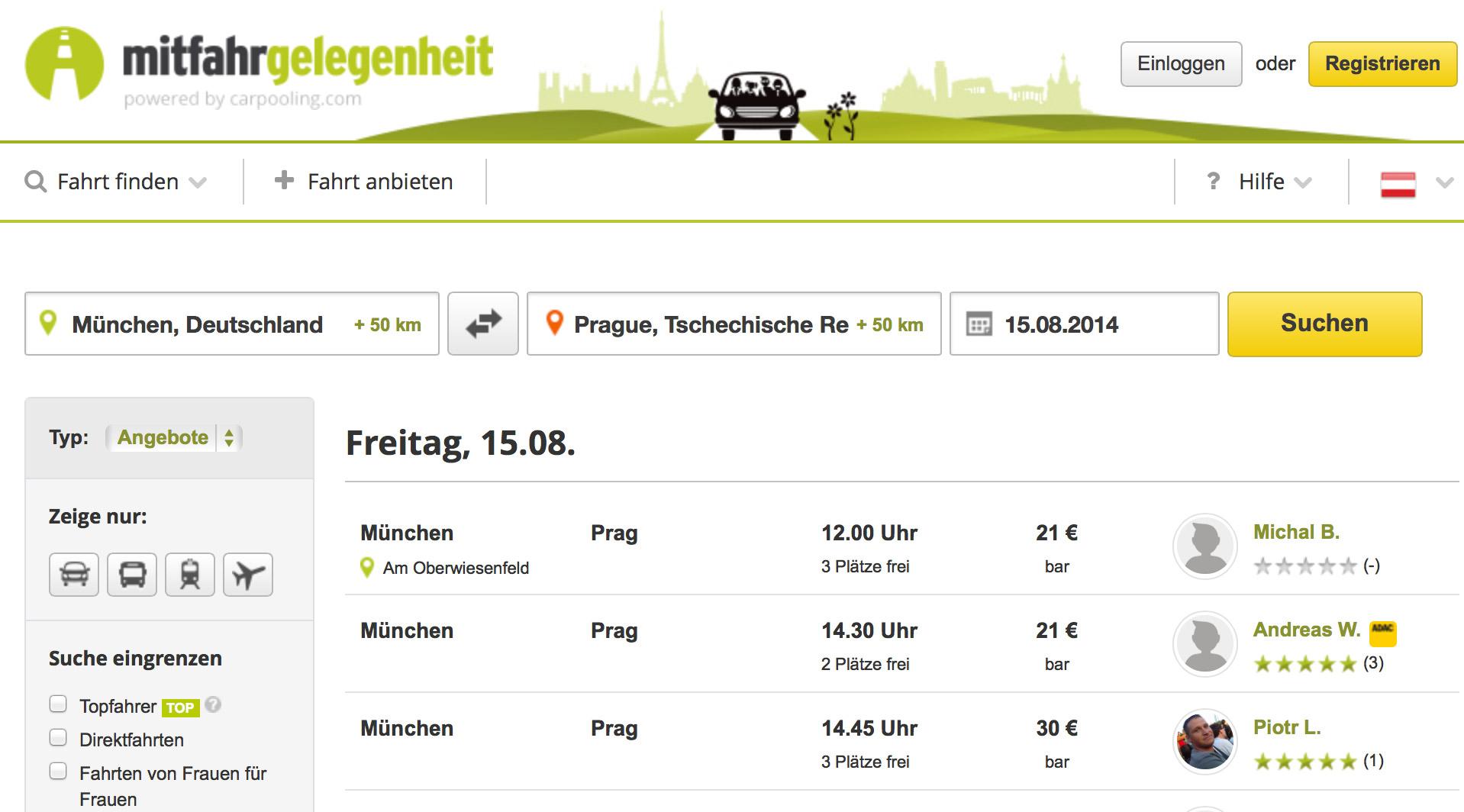 Платформа для поиска попутчиков - Mitfahrgelegenheit.at