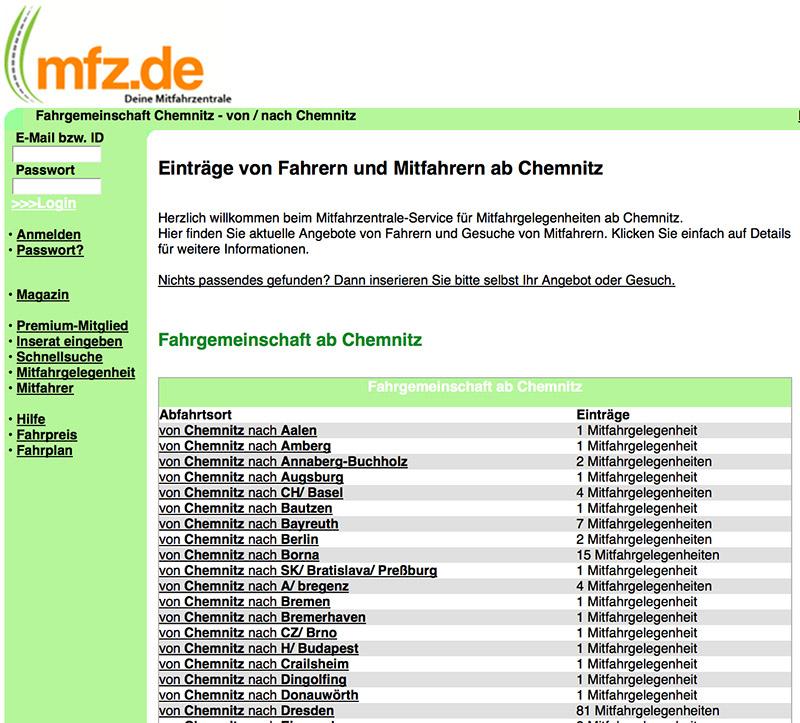 Платформа для поиска попутчиков - Mfz.de